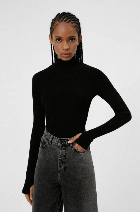 Slim-fit mock-neck sweater with ribbed structure, Black
