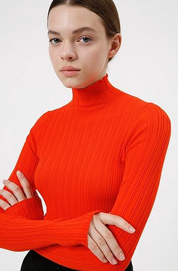 罗纹结构企领修身毛衣,  620_Bright Red