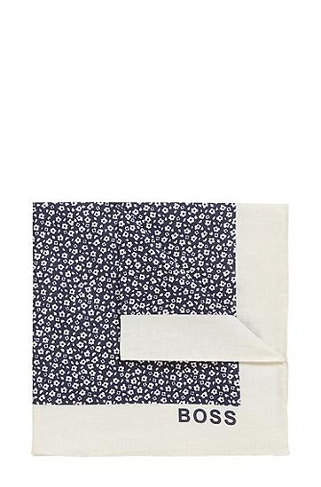 亚麻棉质混纺碎花方巾,  401_Dark Blue