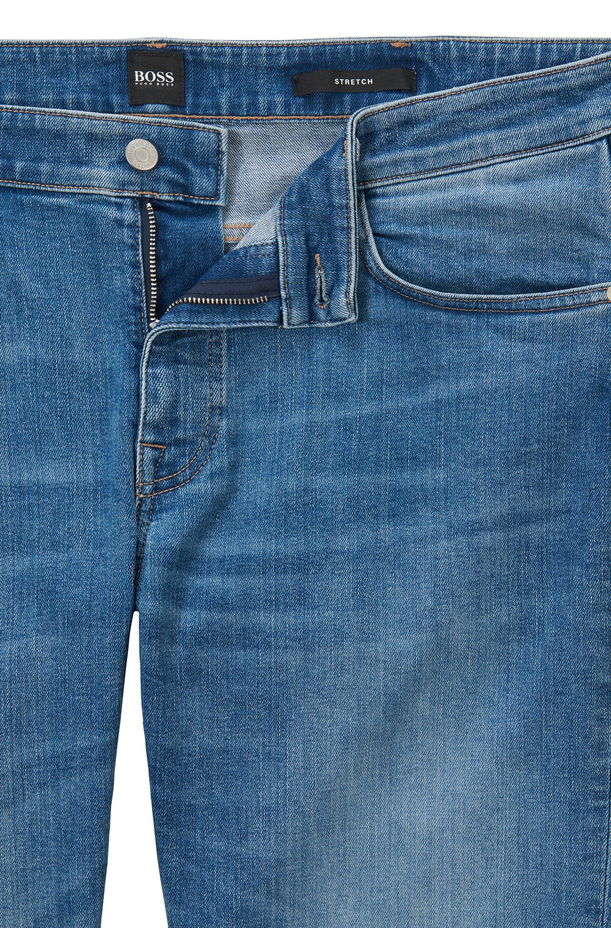 Regular-fit jeans in dark-blue comfort-stretch denim