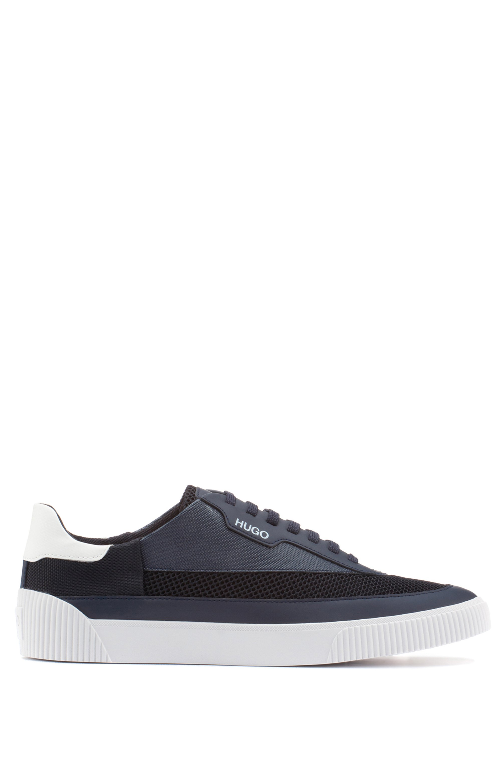 Tennis-style trainers in mixed materials with logo details, Dark Blue