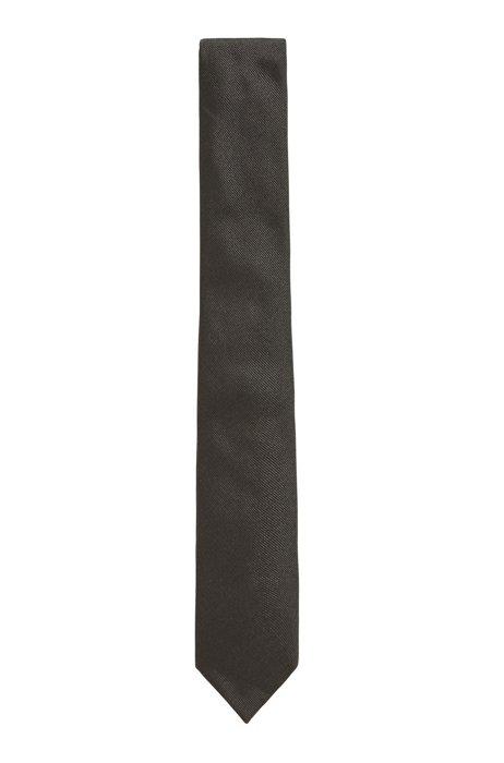 Structured tie in Italian silk jacquard, Dark Green