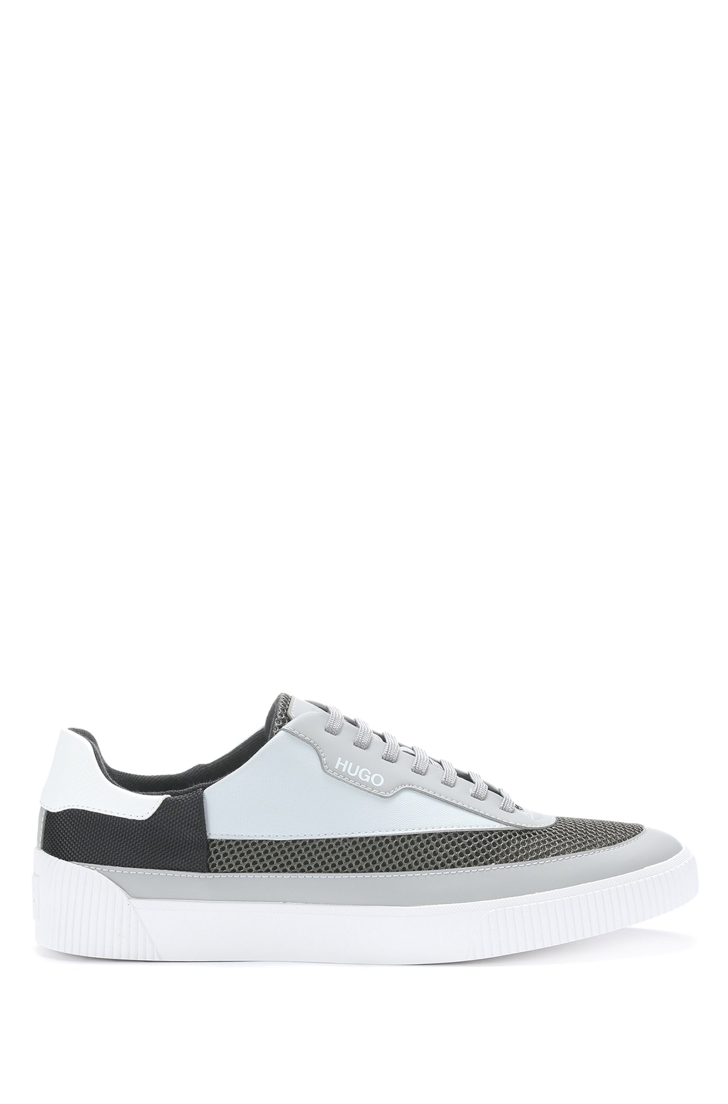 Tennis-style trainers in mixed materials with mesh detailing, Grey