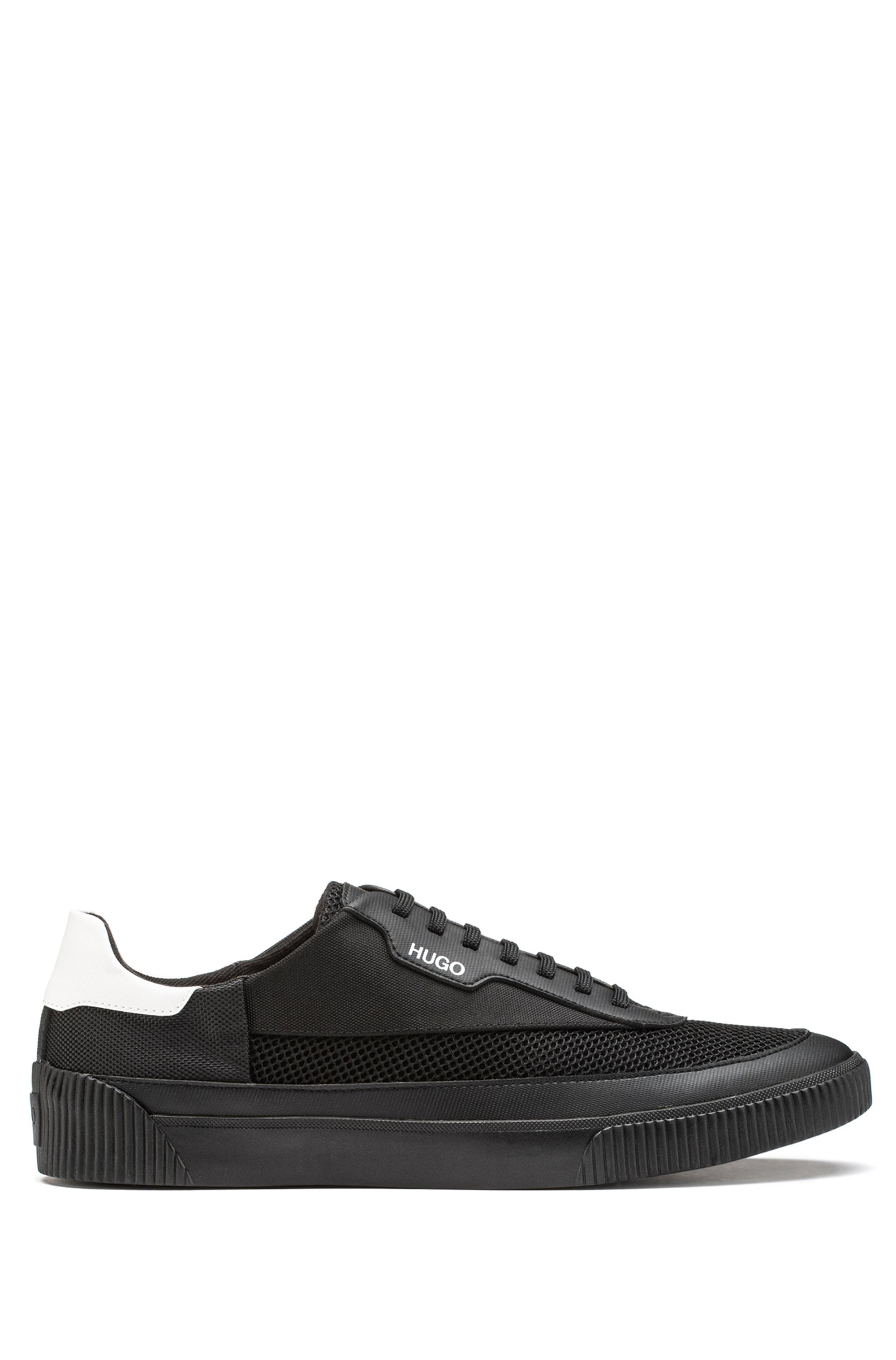 Tennis-style trainers in mixed materials with contrast heel, Black