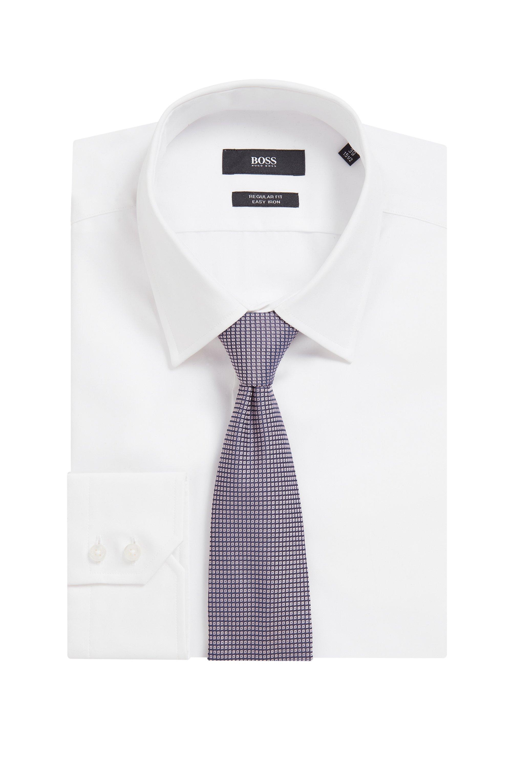 Geometric-patterned tie in silk jacquard