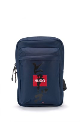 Mono-strap backpack with logo and Japanese ideogram, Dark Blue