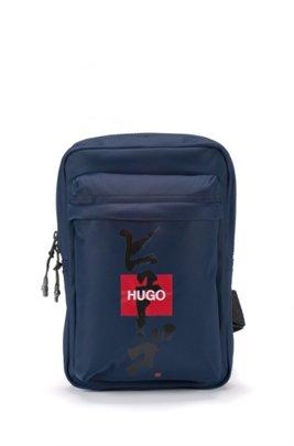 Sac à dos avec bandoulière, logo et idéogramme japonais, Bleu foncé