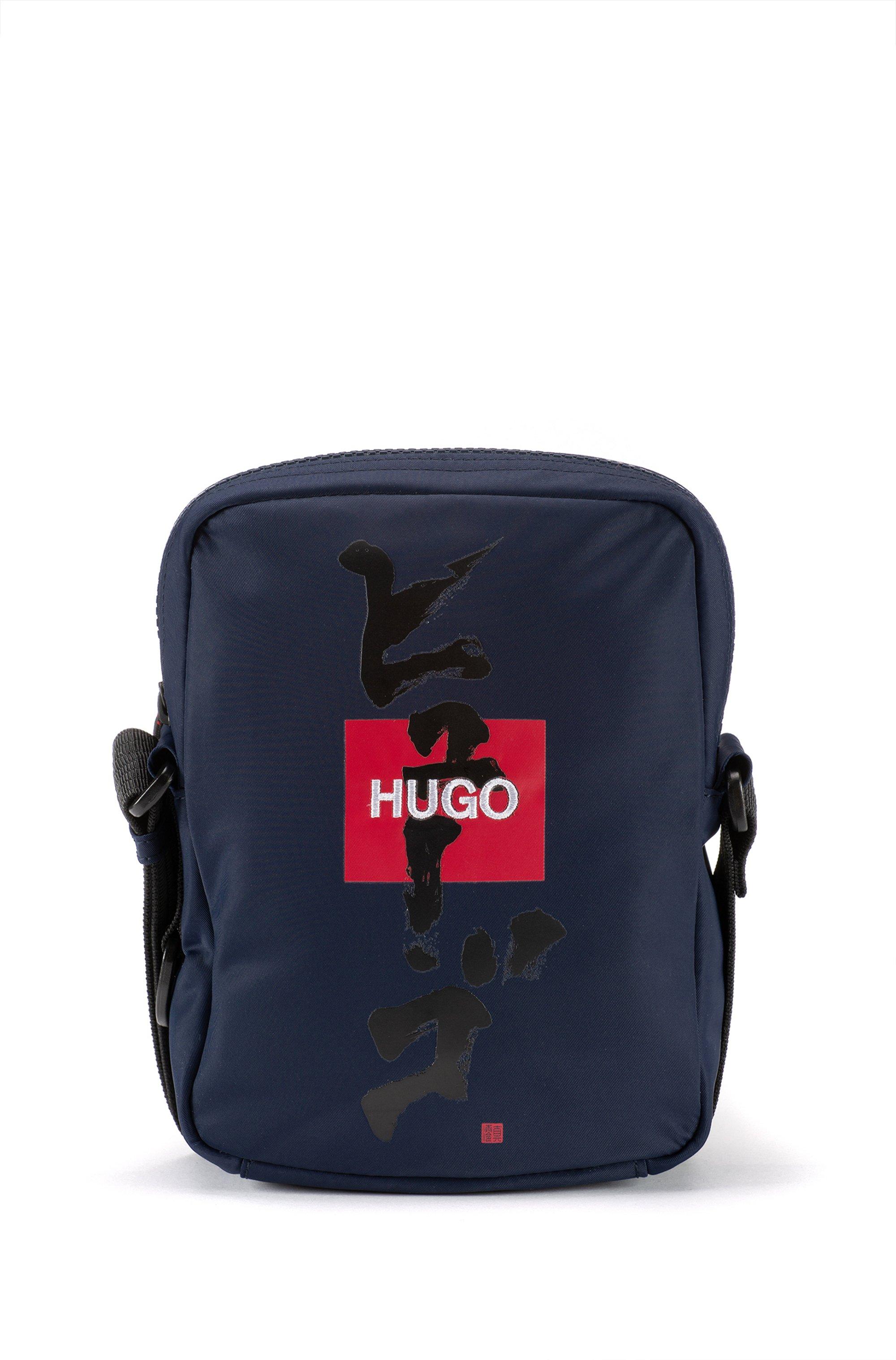 Reporter bag con logo e ideogramma giapponese, Blu scuro
