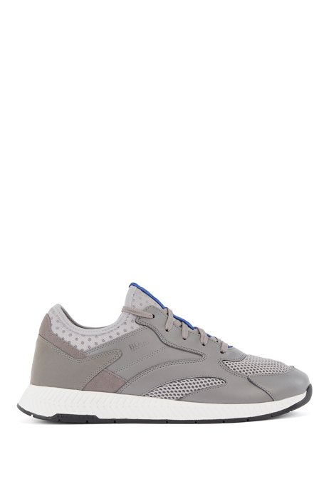 Leather-and-mesh trainers with decorative reflective trims, Light Grey