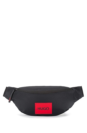 红色徽标标签尼龙腰包,  001_Black