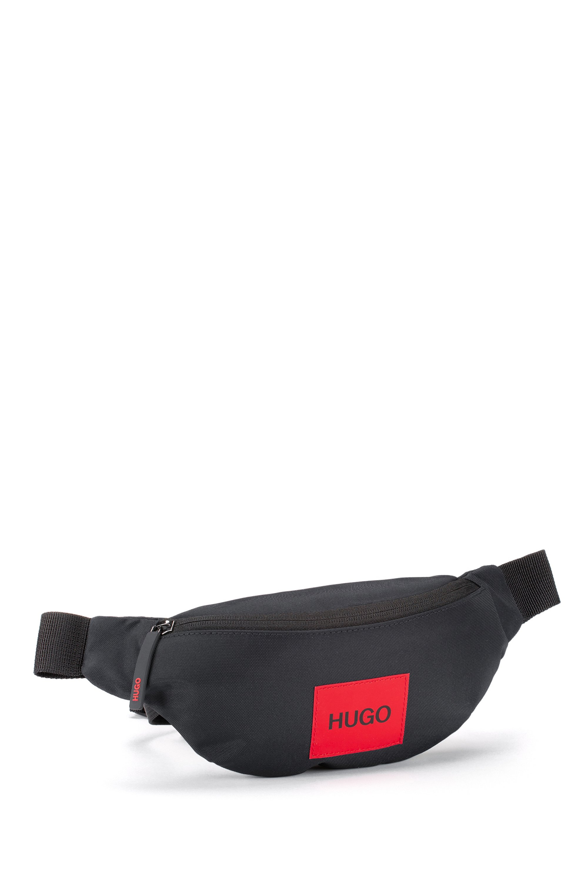 Belt bag in recycled nylon with red logo label