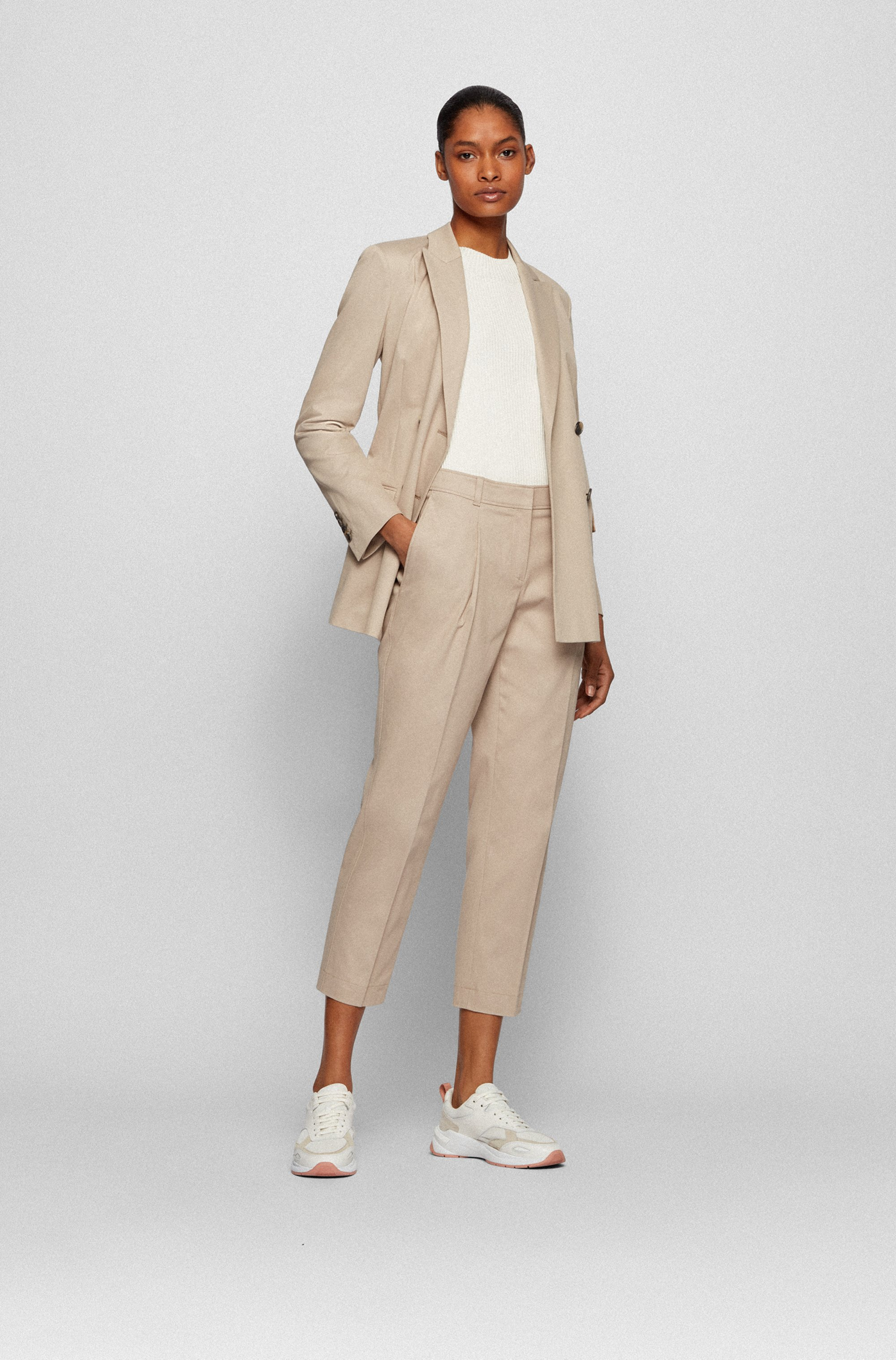 Cropped regular-fit trousers in stretch-cotton twill