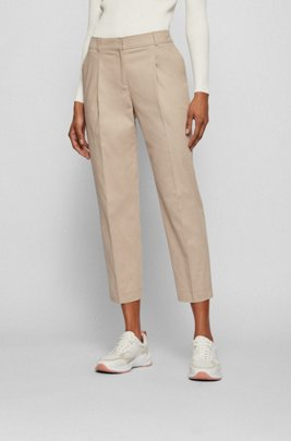 Cropped regular-fit trousers in stretch-cotton twill, Beige