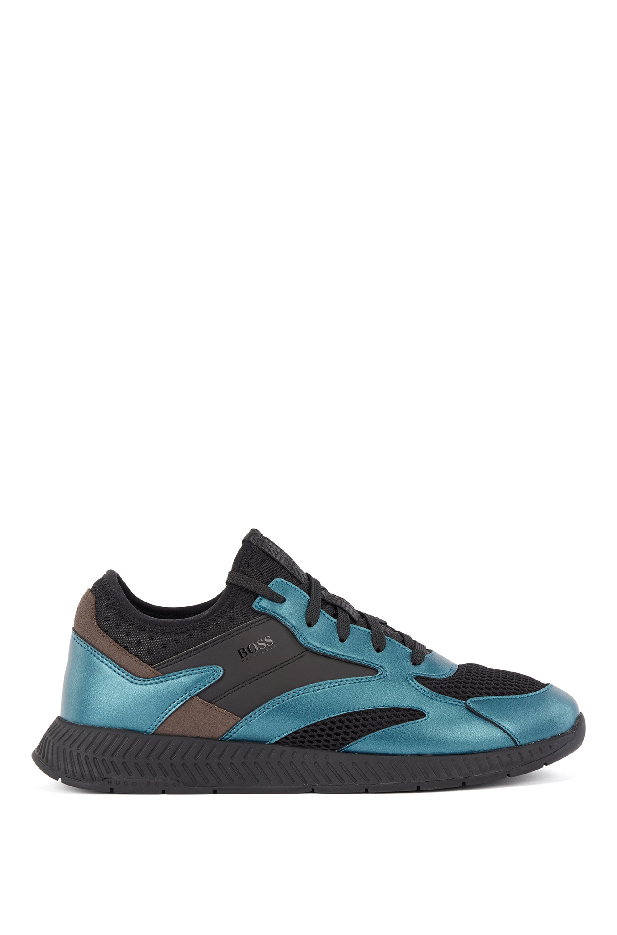 Hybrid running-style trainers with metallic trims, Light Blue