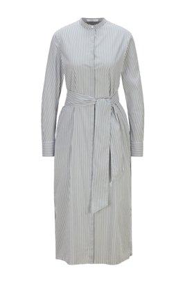 Striped shirt dress in stretch cotton-blend fabric, Light Green