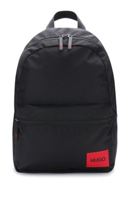 Backpack in recycled nylon with red logo label, Black