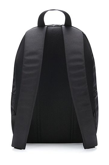 红色徽标标签尼龙双肩包,  001_Black