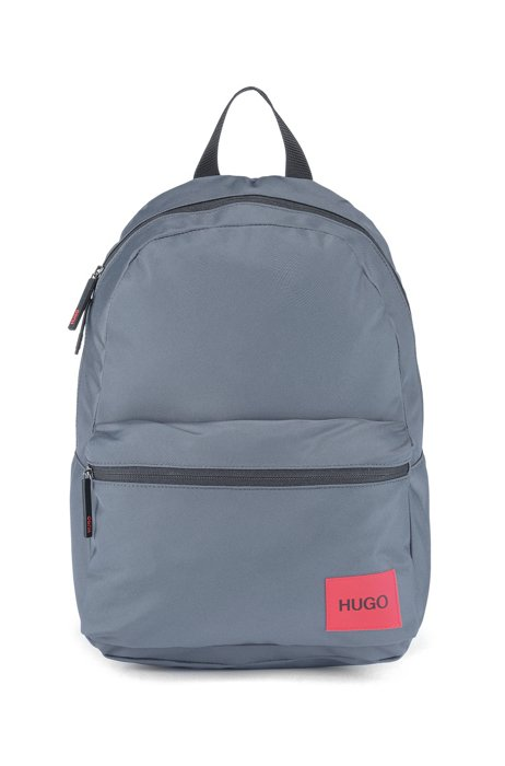 Backpack in recycled nylon with red logo label, Grey