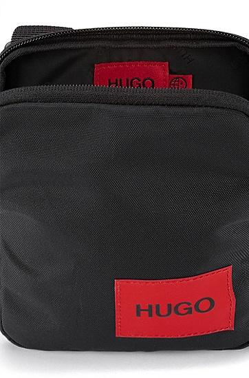 红色徽标标签尼龙记者包,  001_Black