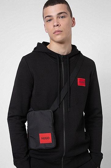 红色徽标标签再生尼龙记者包,  001_Black