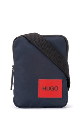 Reporter bag in recycled nylon with red logo label, Dark Blue