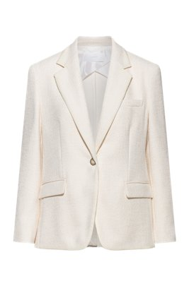 Regular-fit jacket in mid-weight tweed, White