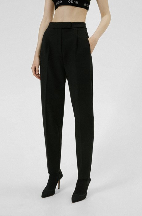 Regular-fit trousers with a tapered leg, Black