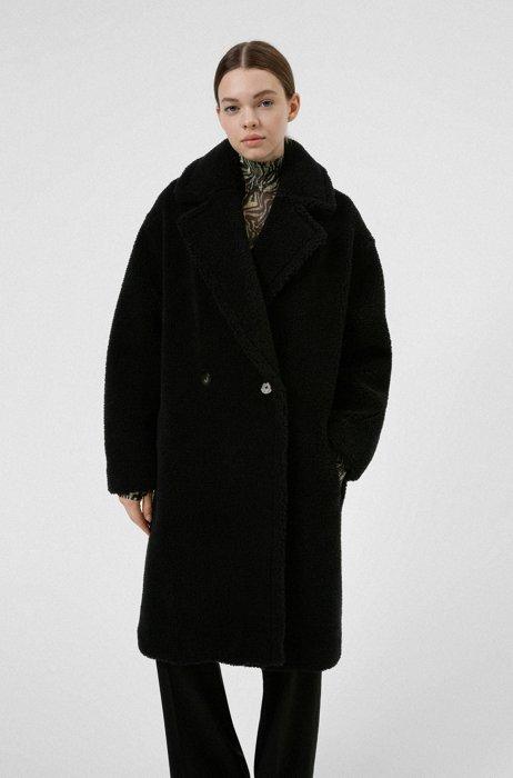 Zweireihiger Relaxed-Fit Teddy-Mantel aus Kunstfell, Schwarz
