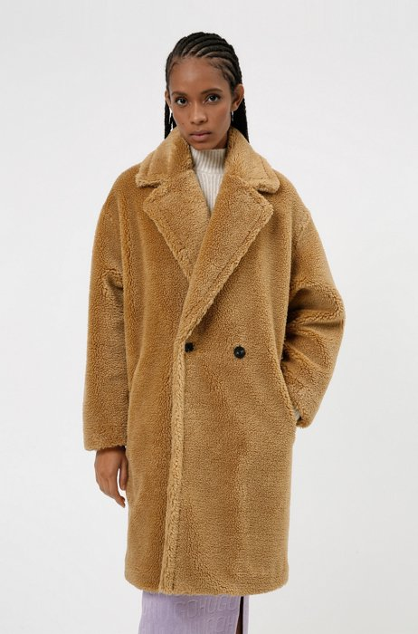 Relaxed-fit double-breasted teddy coat in faux fur, Light Brown