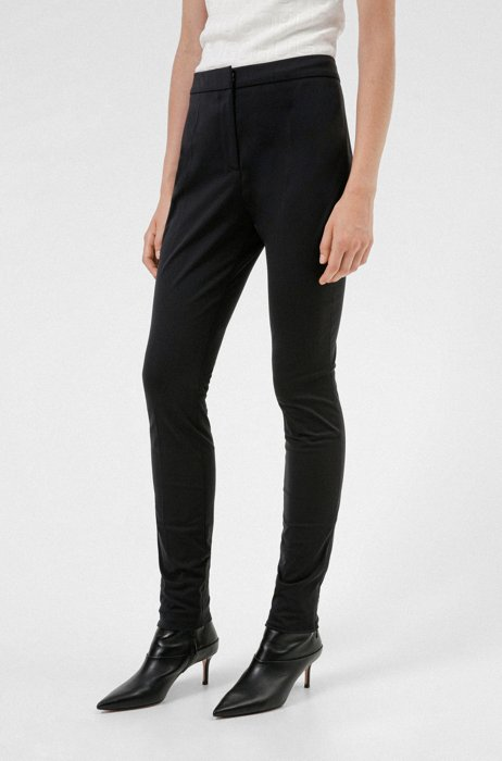 Slim-fit trousers with zipped hems and logo, Black