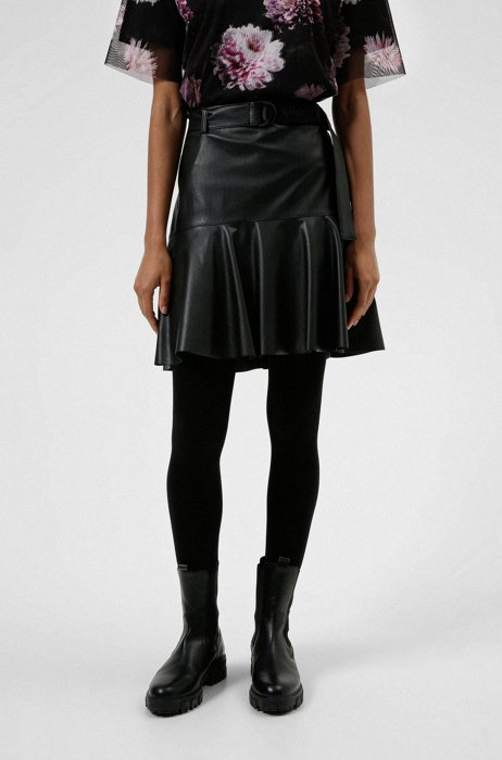 A-line skirt in faux leather with logo belt, Black