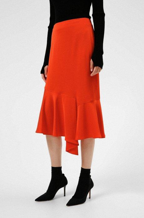 Knee-length skirt with asymmetric hem, Red