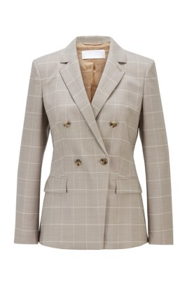 Double-breasted regular-fit jacket in virgin wool and silk, Patterned