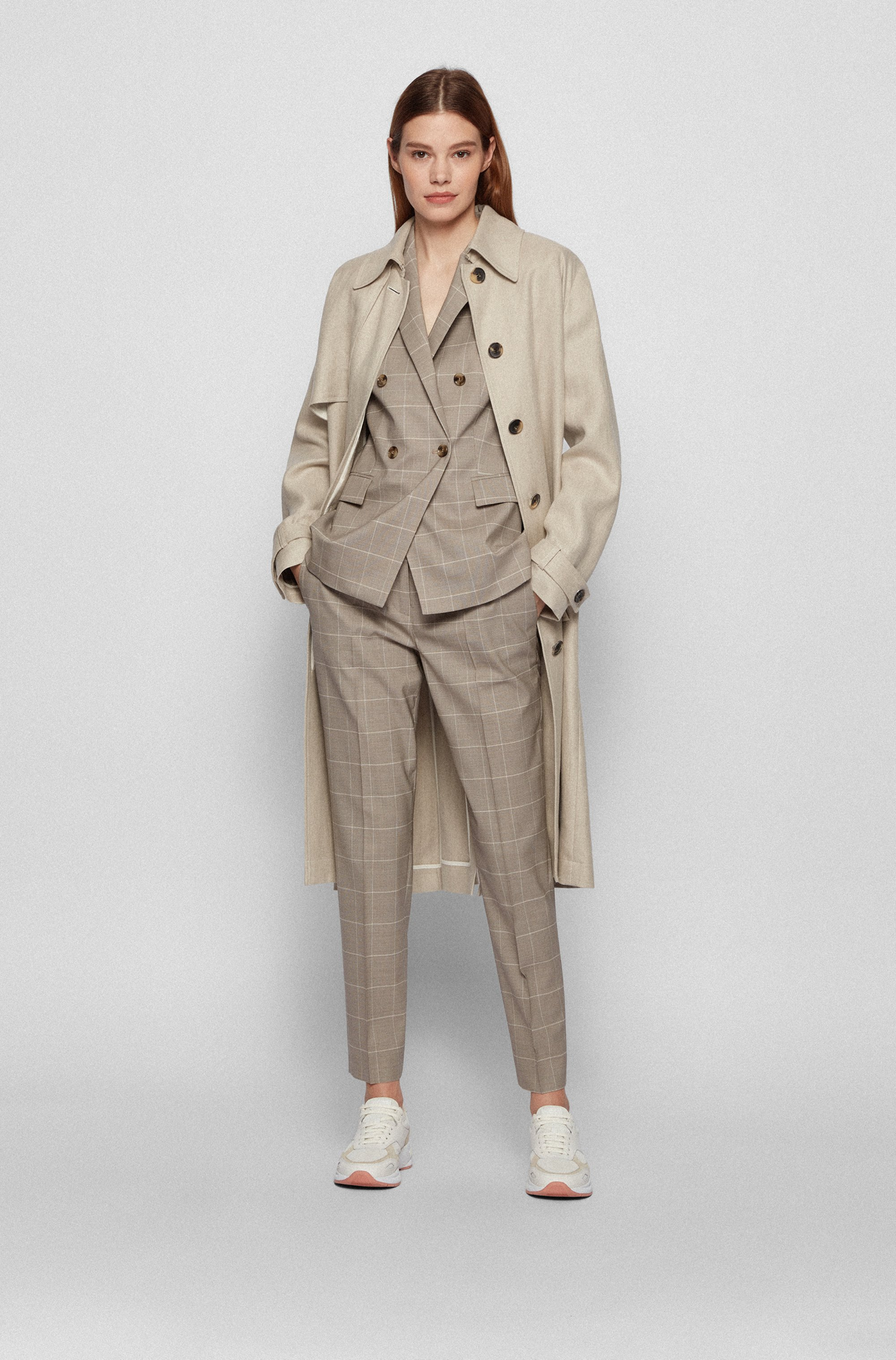 Double-breasted regular-fit jacket in virgin wool and silk