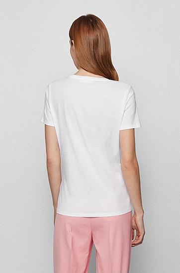 徽标图案修身 T 恤,  100_White