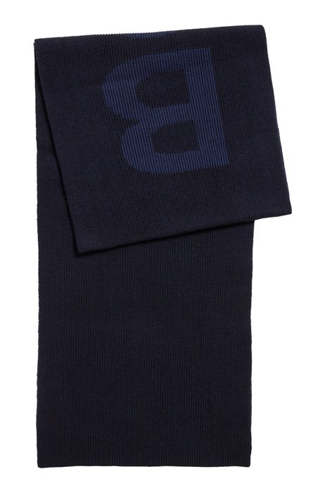 Cotton-blend scarf with logo structure, Dark Blue
