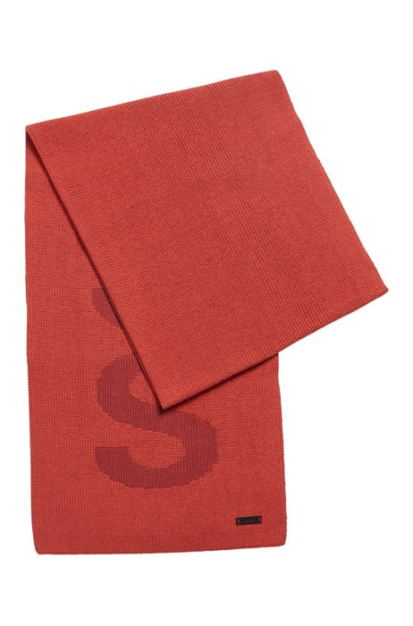 Cotton-blend scarf with logo structure, Red