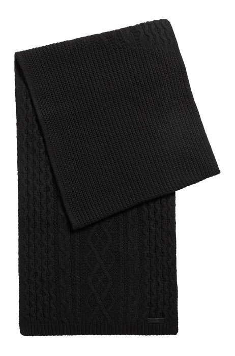 Cable-knit scarf with logo plate, Black