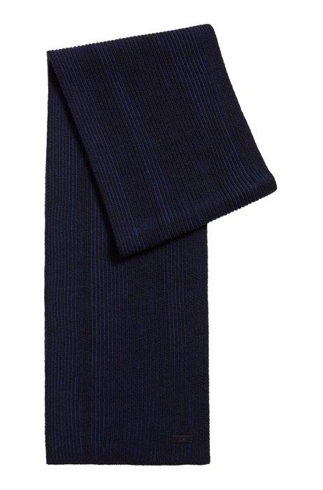 Two-tone rib-knit scarf in virgin wool, Dark Blue