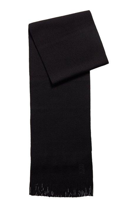 Tonal-logo knitted scarf in virgin wool, Black
