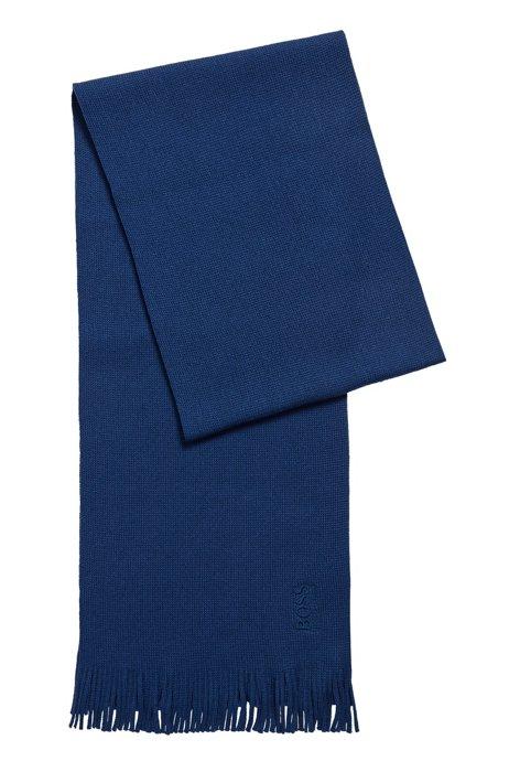 Tonal-logo knitted scarf in virgin wool, Dark Blue