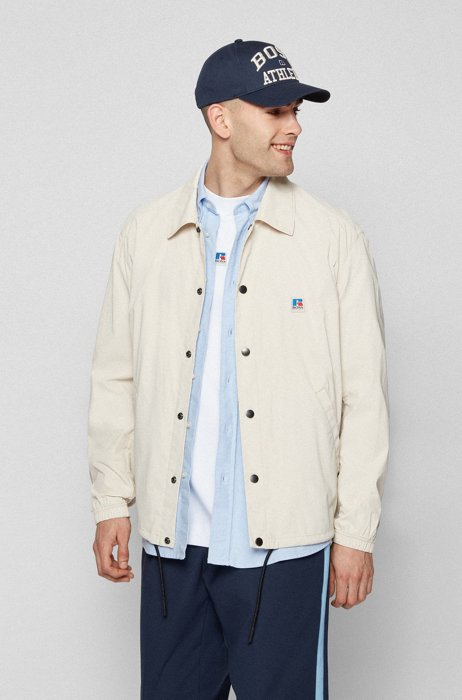 Relaxed-fit jacket in coated cotton with exclusive logo, Light Beige