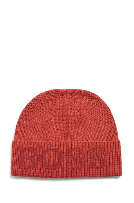 Cotton-blend beanie hat with logo structure, Red