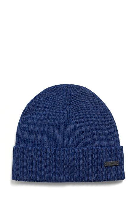Virgin-wool beanie hat with logo label, Dark Blue