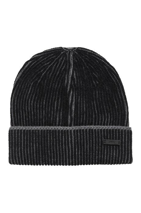 Virgin-wool beanie hat with two-tone ribbing, Black