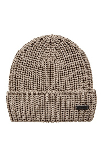 饰以徽标徽章的棉混纺毛线帽,  240_Open Brown