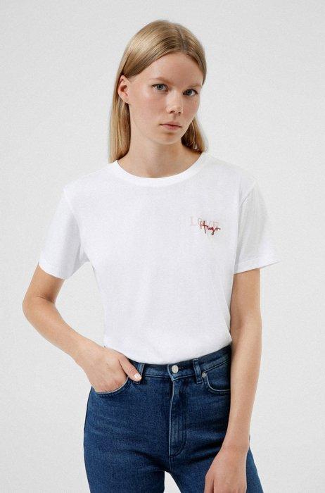 Organic-cotton T-shirt with handwritten logo, White