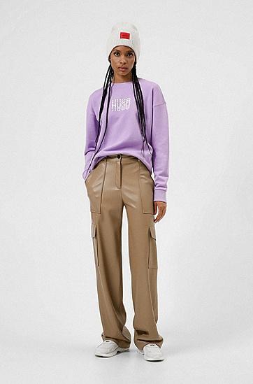 蚀刻徽标装饰法式毛圈布常规版型运动衫,  521_Bright Purple