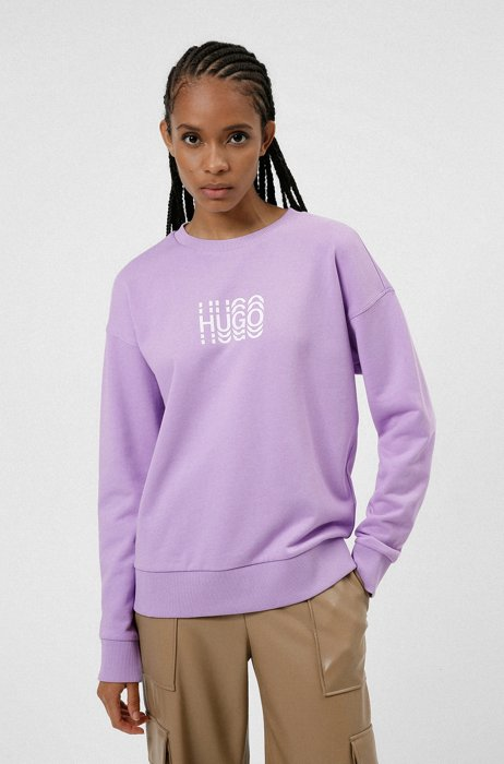 Regular-fit sweatshirt in French terry with echo logo, Purple
