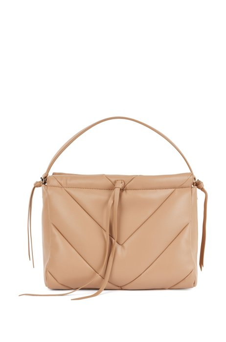 Faux-leather tote bag with chevron quilting, Light Brown